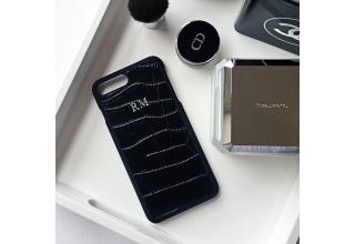 Black croc effect leather monogram case