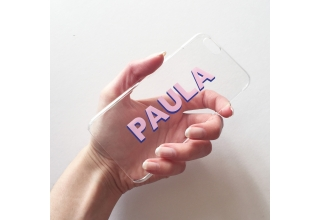 Clear and drop shadow pink and blue monogram clear case