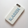 Ivory White and blue tones PU leather printed monogram phone case