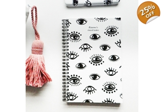 Evil Eye white personalised notebook