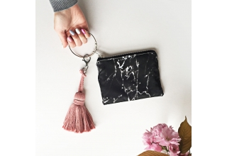 Black marble loop zipper pouch