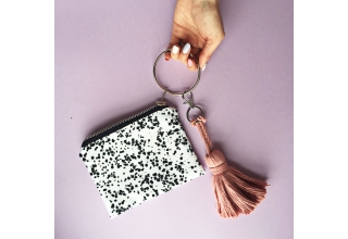Speckle loop zipper pouch