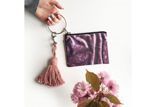 Purple velvet print loop zipper pouch