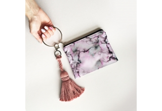 Pastel purple marble loop zipper pouch