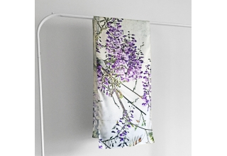 Wisteria print personalised silk scarf