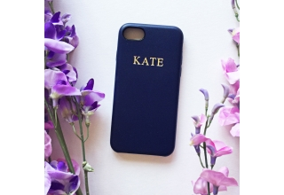 Navy PU leather embossed phone case