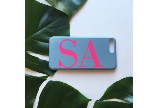 Grey & Neon Pink monogram phone case