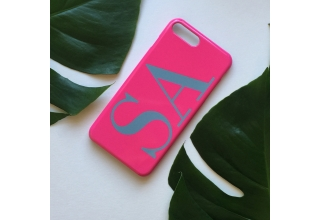 Neon pink & grey monogram phone case
