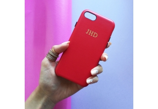 Red PU leather embossed phone case