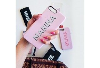 Pink and grey PU leather printed monogram phone case