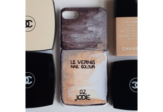 Beige nail varnish designer inspired monogram phone case