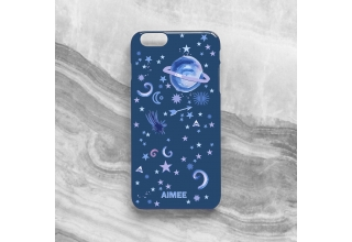 Pastel planets monogram phone case