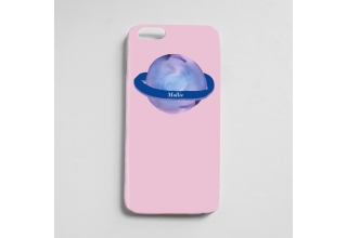 Pastel purple & Pink Saturn planet monogram phone case