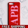 Red and pink monogram phone case