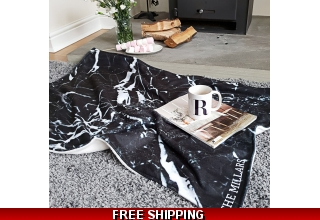 Black marble personalised blanket throw
