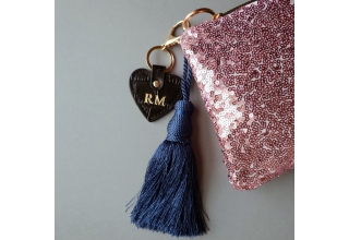 Pink glitter sequin personalised clutch bag