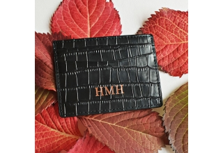 Black embossed leather monogram card holder