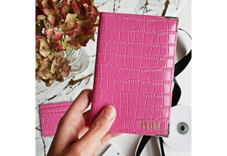 Pink embossed leather monogram passport holder