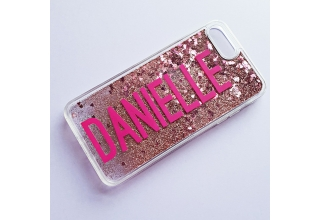 Pink glitter monogram clear case