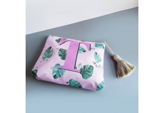 Tropical leaf print Monogram pouch