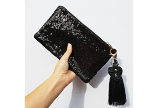 Black glitter sequin personalised clutch bag