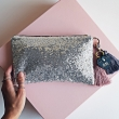 Silver glitter sequin personalised clutch bag