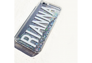 Silver glitter monogram clear case