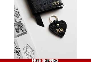 Black embossed leather personalised heart keyring