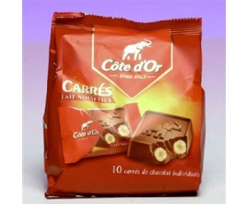 Carrés...with Hazelnuts...; 10 pieces - MILK CHOCOLATE (200 gr)