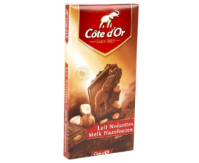 Cote D'or - Tablet milkchocolat with whole hazelnuts ; 200 gr.