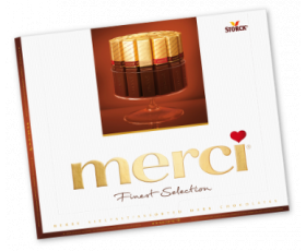 MERCI chocolade box assortiment pure, puur, dark, noir - 250 gr.