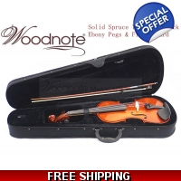 Woodnote VB-310E Solid Wood/Spruce Top/Maple Back Violin / Free German Silver String Set