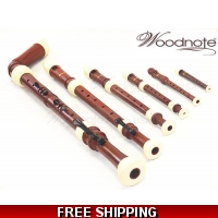 Woodnote 6 pieces Pro. Twin Color Wood Grain/Ivory Recorder Set