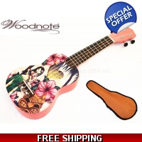 "Hawaiian Girl -21"" Soprano Ukulele-Rosewood Fingerboard & Bridge/600D Bag"