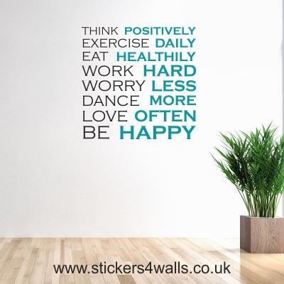 Be Happy Inspirational Quote Wall Sticker
