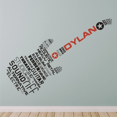 Personalised Word Guitar Wall Sticker