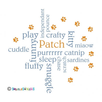 Personalised Cat Name Word Cloud Wall Sticker
