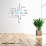 Personalised Dental Surgery Dentist Word Cloud Wall Sticker