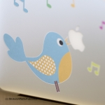 Blue Bird Laptop Sticker, Fabristick® Fabric Stickers