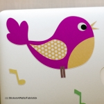 Pink Bird Laptop Sticker, Fabristick® Fabric Stickers