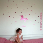 Personalised Unicorn and Stars Wall Sticker