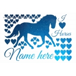 Personalised Horse & Heart Glitter Wall Sticker