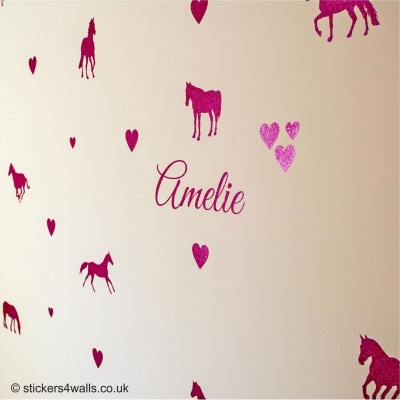 Personalised Horses & Hearts Glitter Wall Sticker