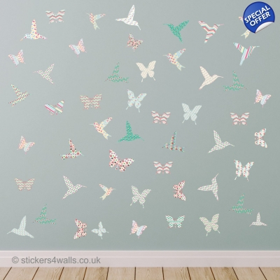 Hummingbird & Butterfly Wall Stickers