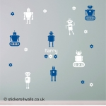 Personalised Robot Kids Premium Wall Sticker