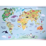 World Map Fabric Wall Sticker for Kids