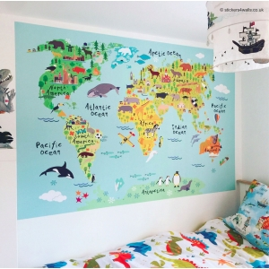 World Map Fabric Wall Sticke..