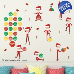Christmas Elf Advent Calendar Wall Sticker