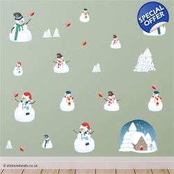 Snowman Christmas FabriStick® Wall Stickers
