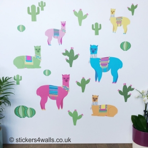 Alpaca and Cactus Wall Stick..